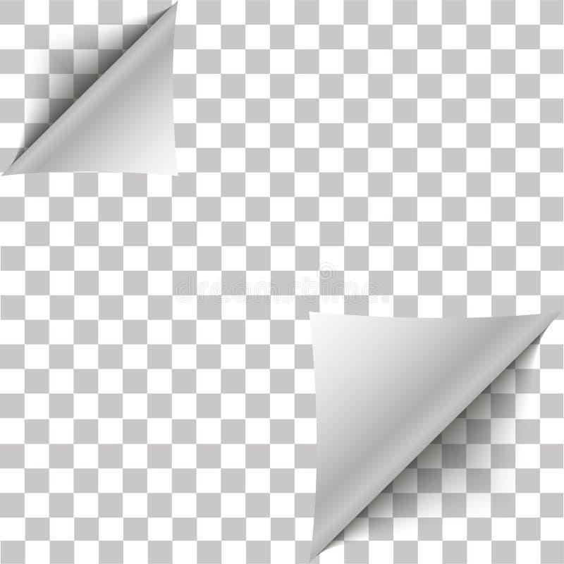 白页双角落为您的设计卷曲了 与阴影的白色梯度纸卷毛在透明背景 向量 皇族释放例证