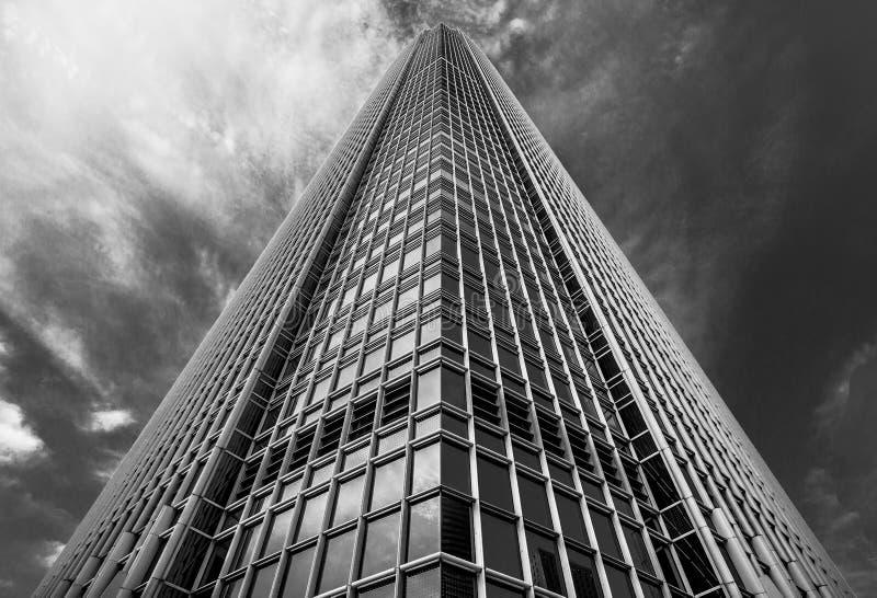 黑白香港现代的建筑学 免版税库存照片