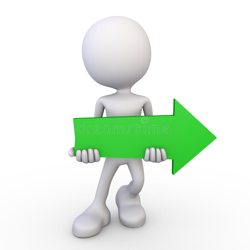 白3d人-绿色箭头 皇族释放例证