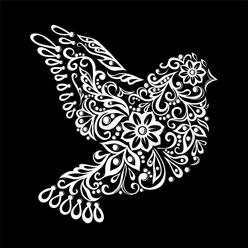 黑白Zentangle被传统化的鸠 纹身花刺的葡萄酒剪影 向量例证