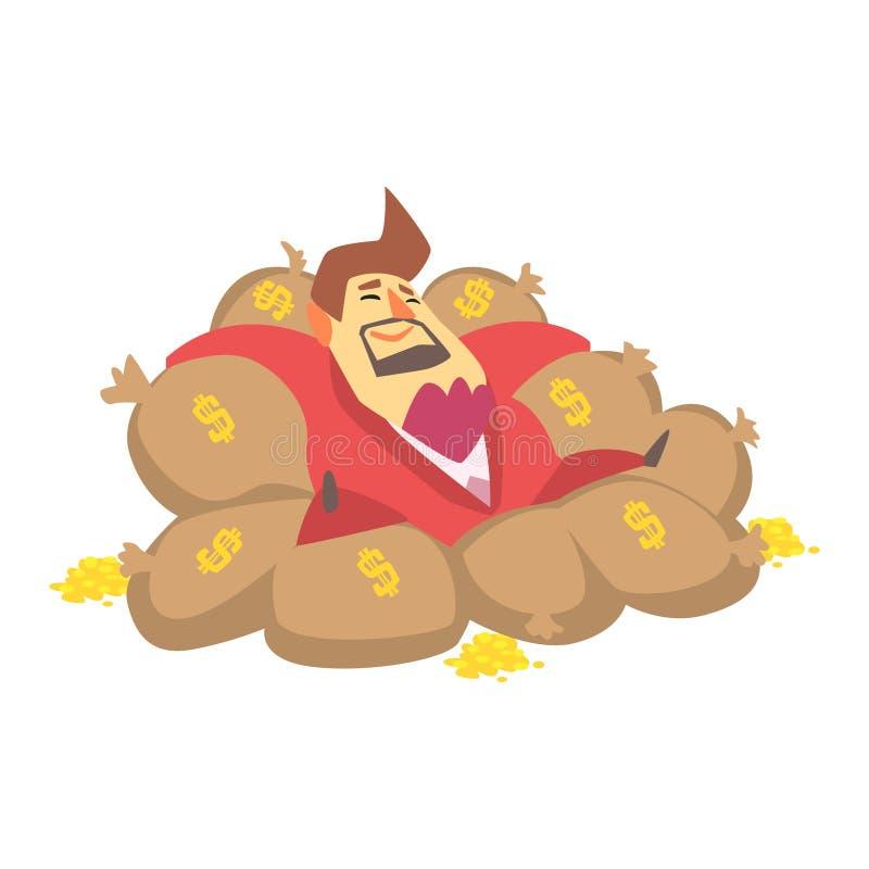 百万富翁富人放置在金钱袋子的充满金黄硬币,滑稽的漫画人物生活方式情况 库存例证