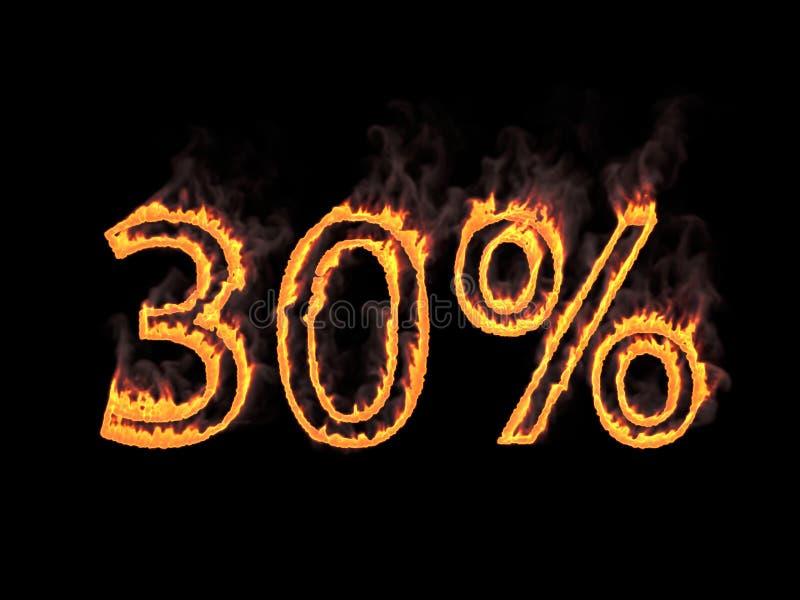 百分之三十30% 与烟的火热的数字在黑背景 3d翻译 数字式例证 库存例证