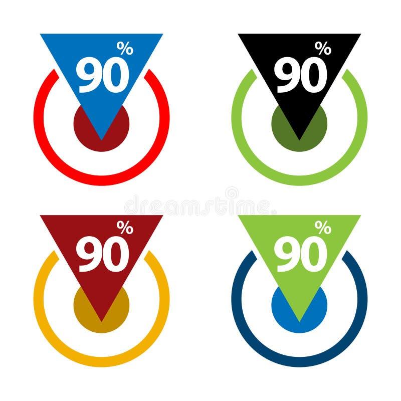 百分之九十下来,向下箭头例证 库存例证