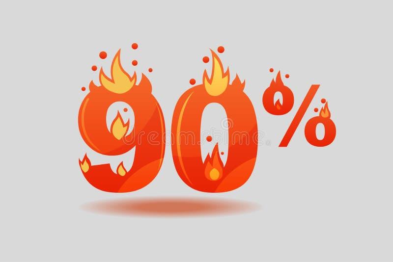 百分之九十折扣,在火的数字 向量例证