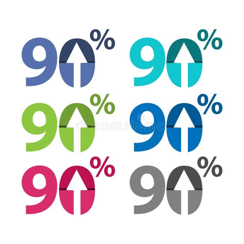百分之九十,向上箭头例证 向量例证