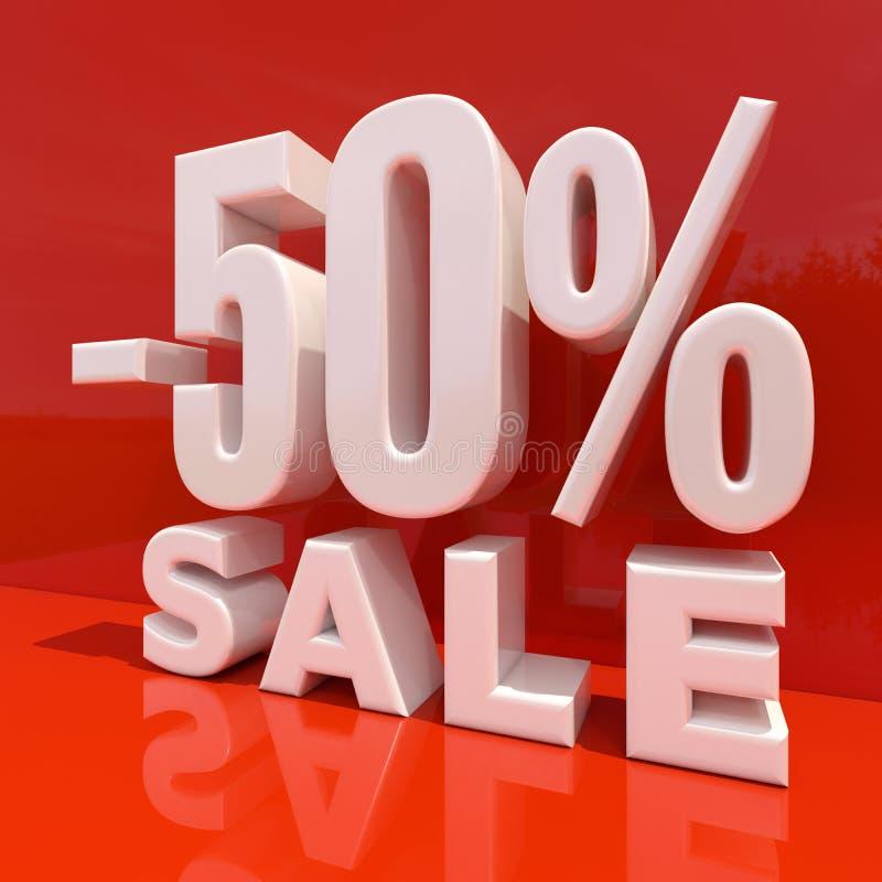 百分之折扣标志,由50决定的销售 皇族释放例证