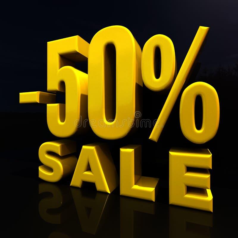 百分之折扣标志,由50决定的销售 向量例证