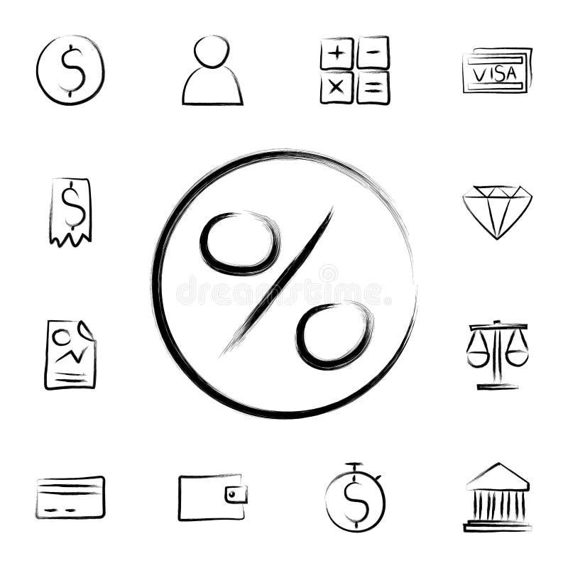 百分号剪影样式象 详细的套在剪影样式象的银行业务 优质图形设计 其中一个汇集象 库存例证
