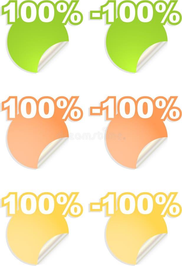 百分比贴纸文本向量 库存例证