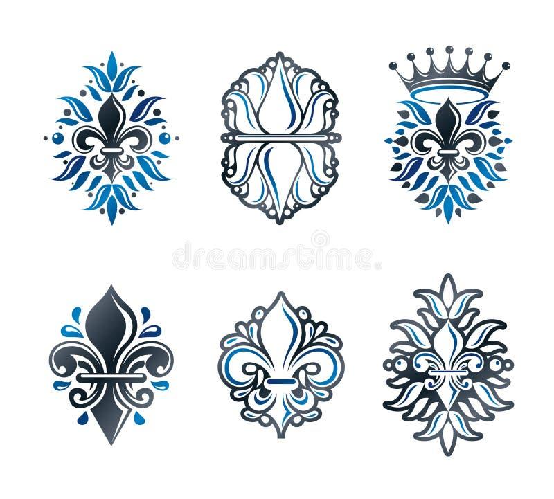百合开花皇家标志,花卉和冠,被设置的象征 纹章学徽章装饰商标被隔绝的传染媒介例证 向量例证