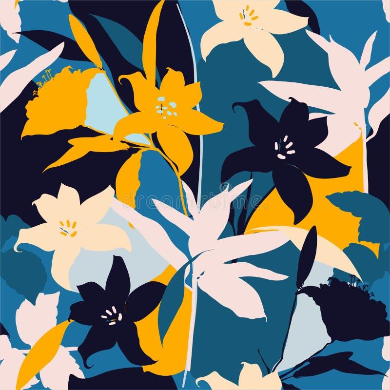 百合花美丽的减速火箭的剪影提取与叶子和花卉背景的无缝的样式 库存例证
