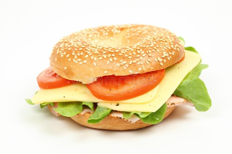 百吉卷新鲜的三明治 免版税图库摄影