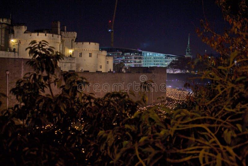 百年纪念品的夜视图在表示第一次世界大战的结束的伦敦塔的 库存照片