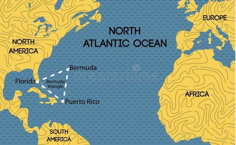 百慕大三角的传染媒介地图 库存例证