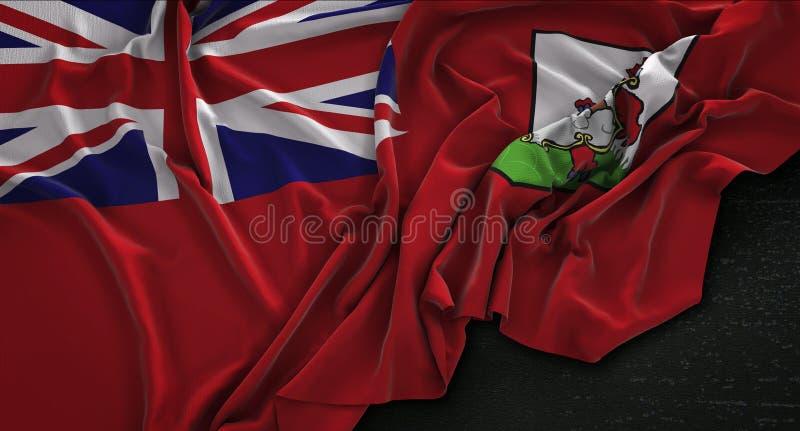 百慕大旗子在黑暗的背景3D起了皱纹回报 库存例证