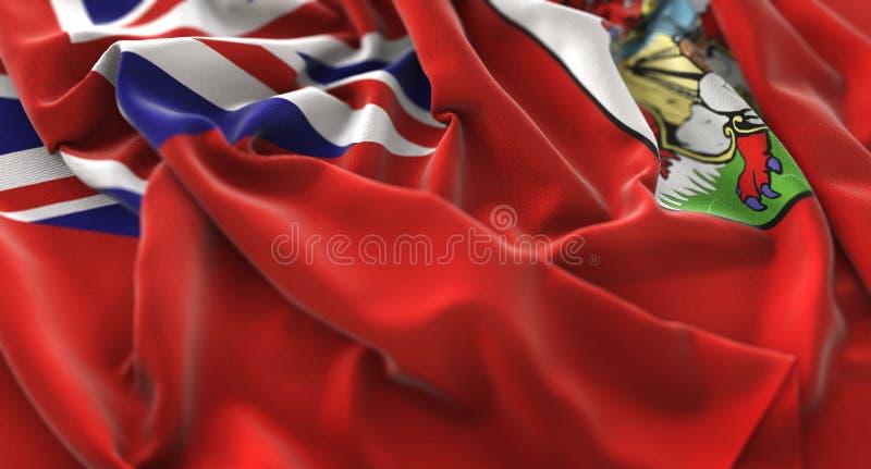 百慕大旗子被翻动的美妙地挥动的宏观特写镜头射击 免版税库存图片