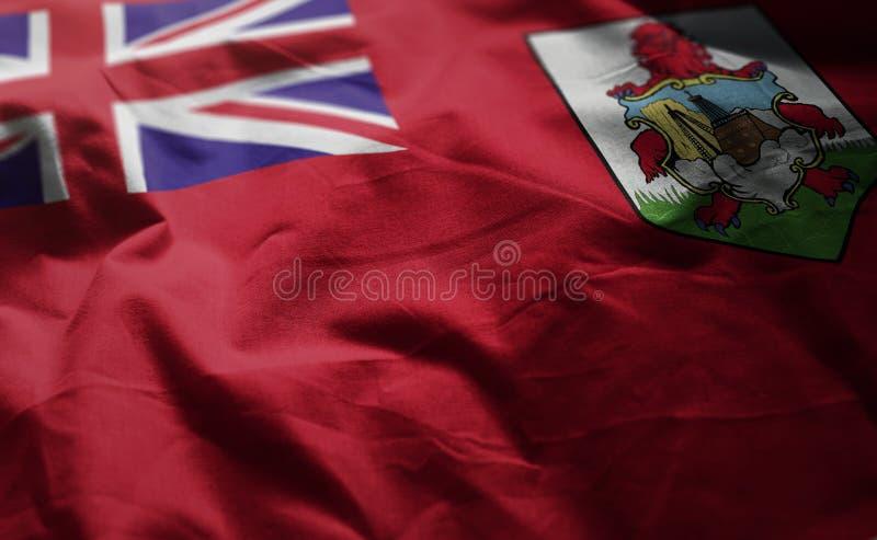 百慕大旗子起皱了接近  库存照片