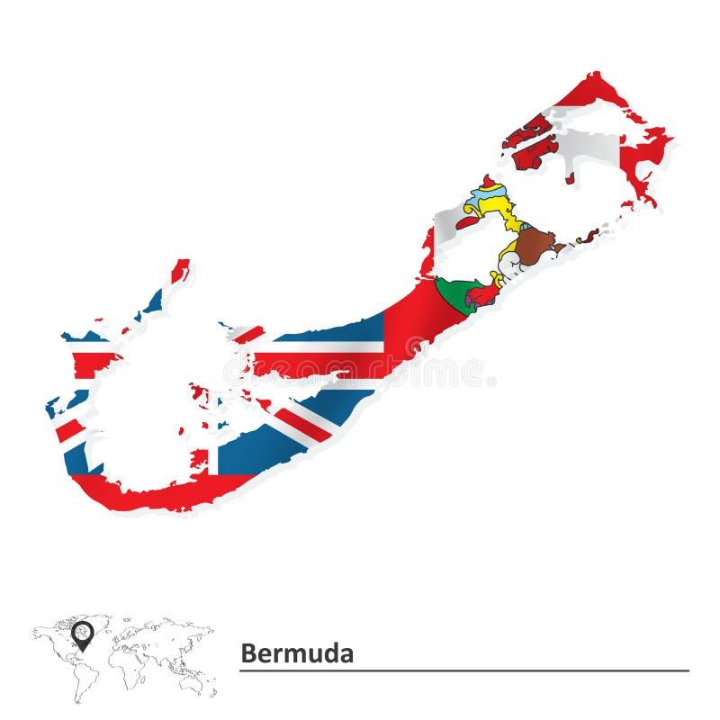 百慕大的地图有旗子的 库存例证