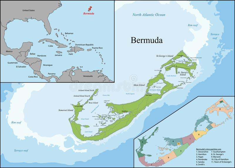 百慕大的地图 库存例证