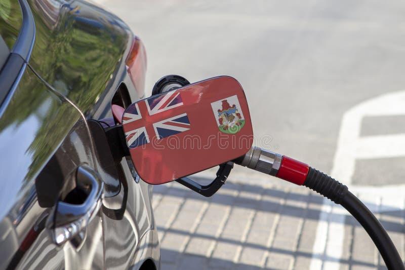 百慕大的旗子汽车` s燃料补白挡水板的 免版税库存图片