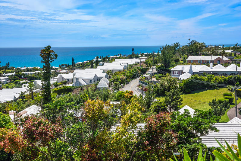 百慕大的白色屋顶 库存图片