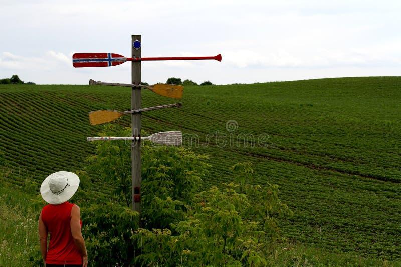 的一名妇女交叉路和选择方向 库存图片