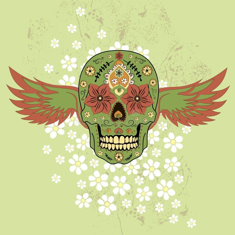 死的五颜六色的头骨的天有花饰和翼的 皇族释放例证