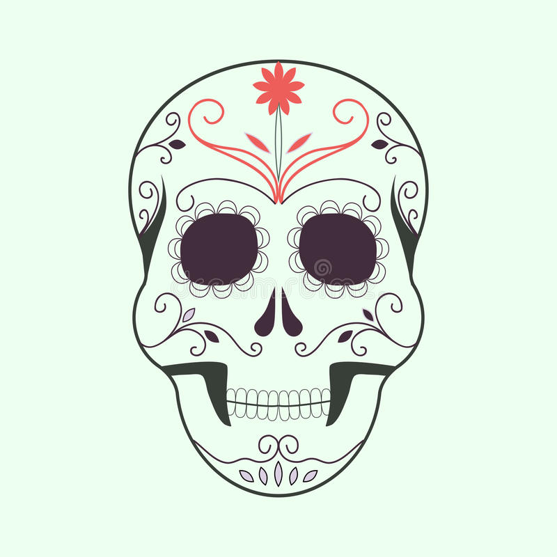 死的五颜六色的头骨的天有花饰的 万圣夜商标 库存例证