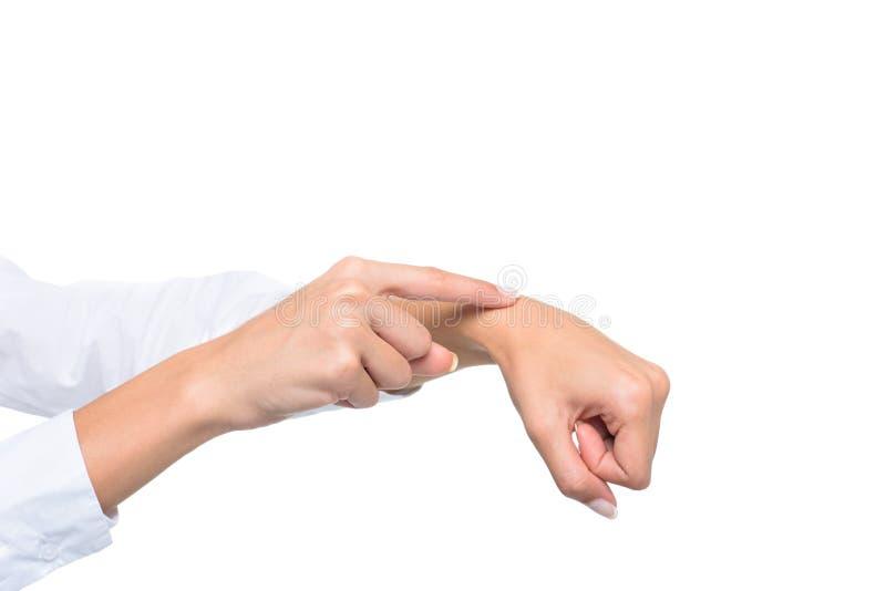 的人打手势手势语的播种的观点 免版税库存照片