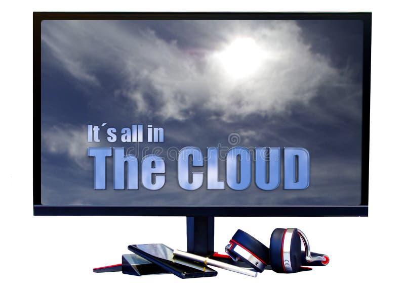ItÂ的全部在云彩 在屏幕上的文本介绍的解释的对此或幽默 库存照片