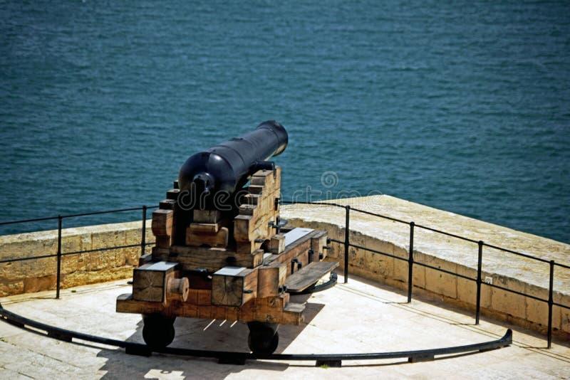 的关闭用于第二次世界大战由英国一门唯一黑大炮 库存图片