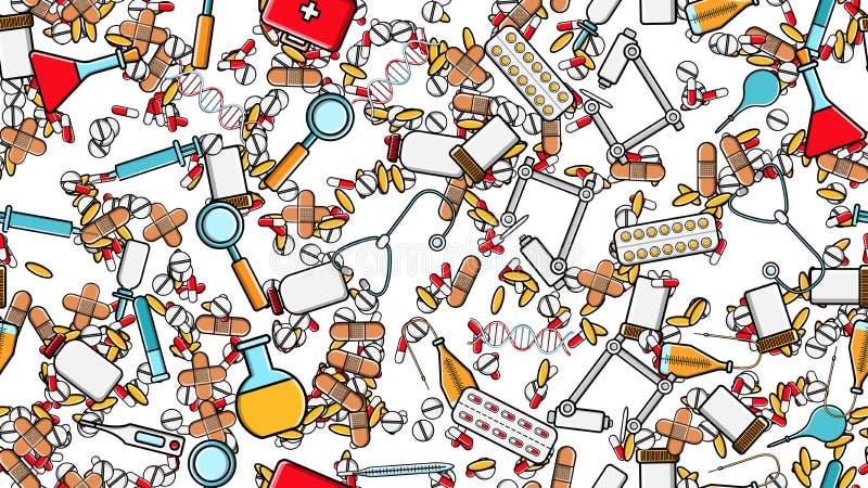 的医学项目无缝的样式纹理象刺药片吸取听诊器工具医生烧瓶胶囊罐头注射器 库存例证