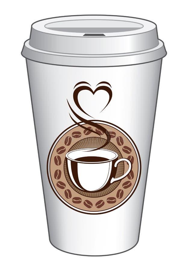 去的咖啡与通入蒸汽的心脏的杯设计 向量例证