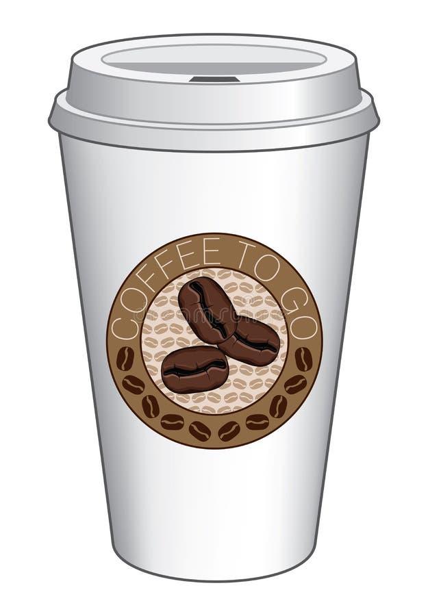 去的咖啡杯设计用豆 向量例证