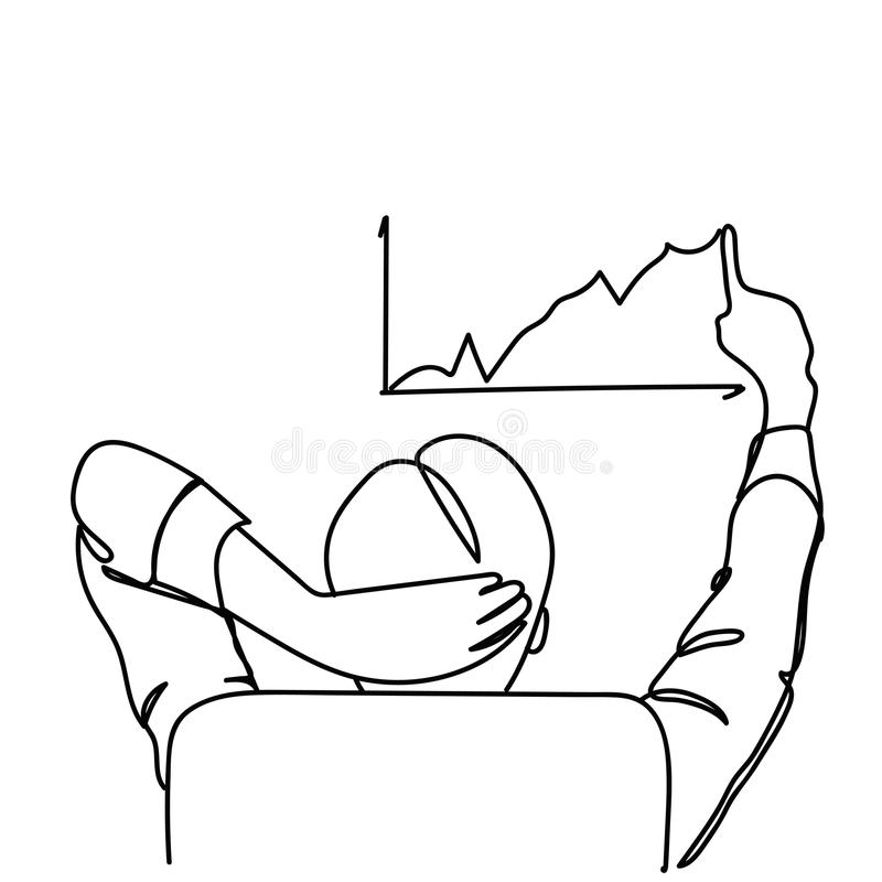 的商人坐在办公室椅子图画成长,统计报告概念乱画的图箭头的后面观点 向量例证