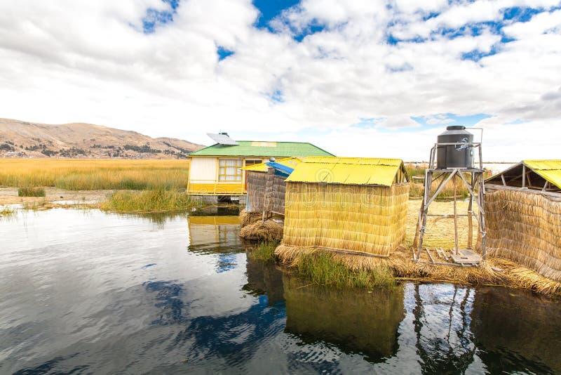 的喀喀湖的普诺,秘鲁,南美浮动海岛。那密集的根植物Khili 库存照片