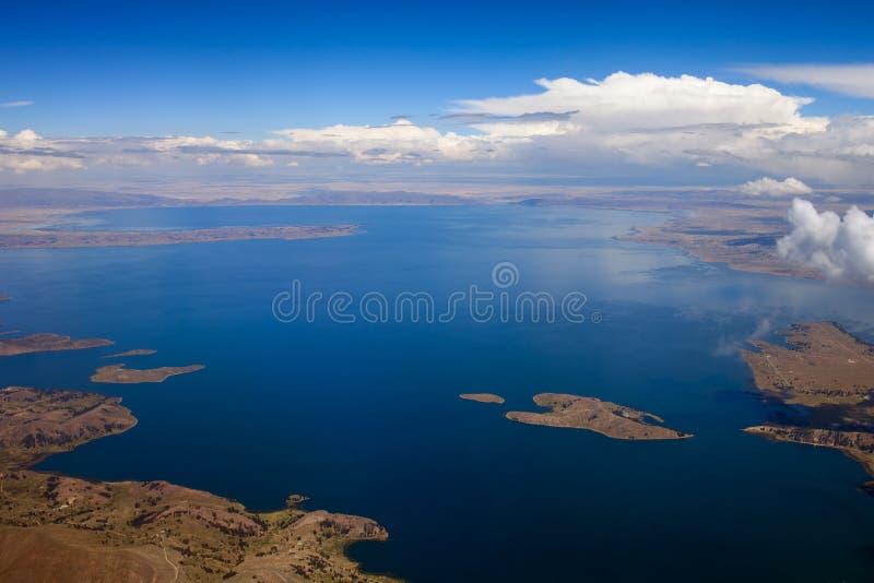 的喀喀湖,顶视图 库存照片