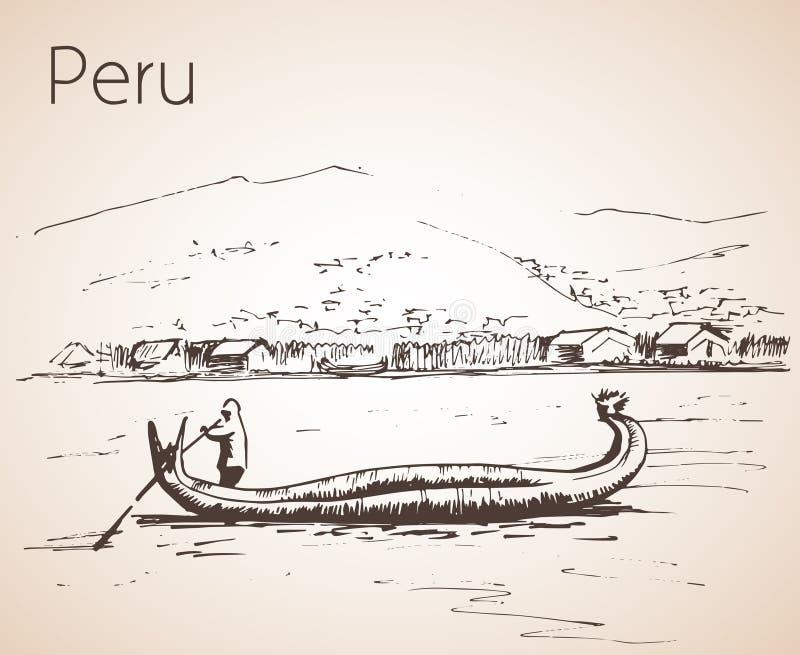 的喀喀湖wirh全国小船totora,秘鲁吸引力 皇族释放例证