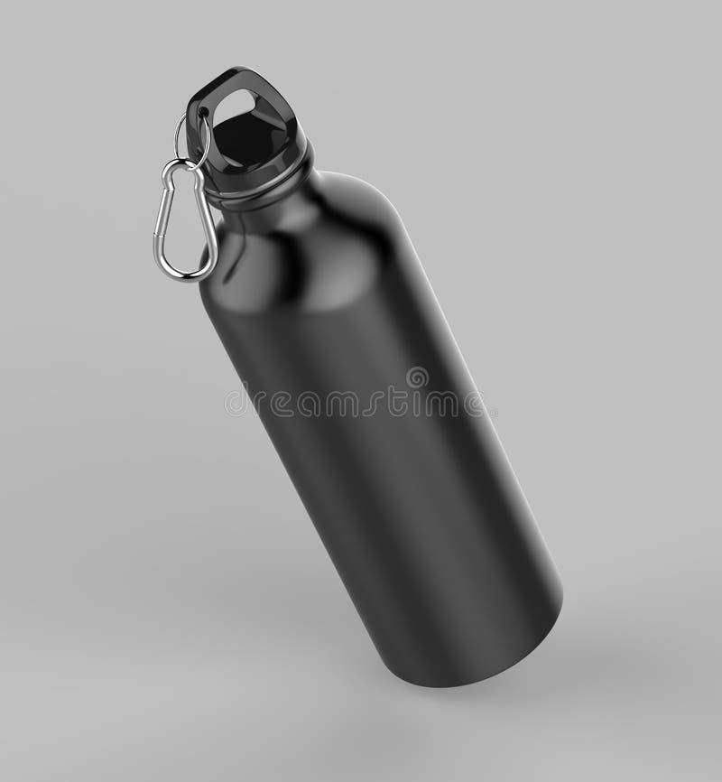 的嘲笑和模板设计的铝黑发光的吸者瓶 3d例证回报 库存例证