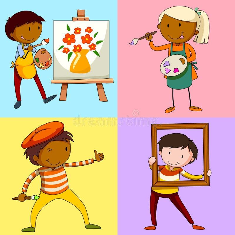 绘画的四位艺术家 向量例证