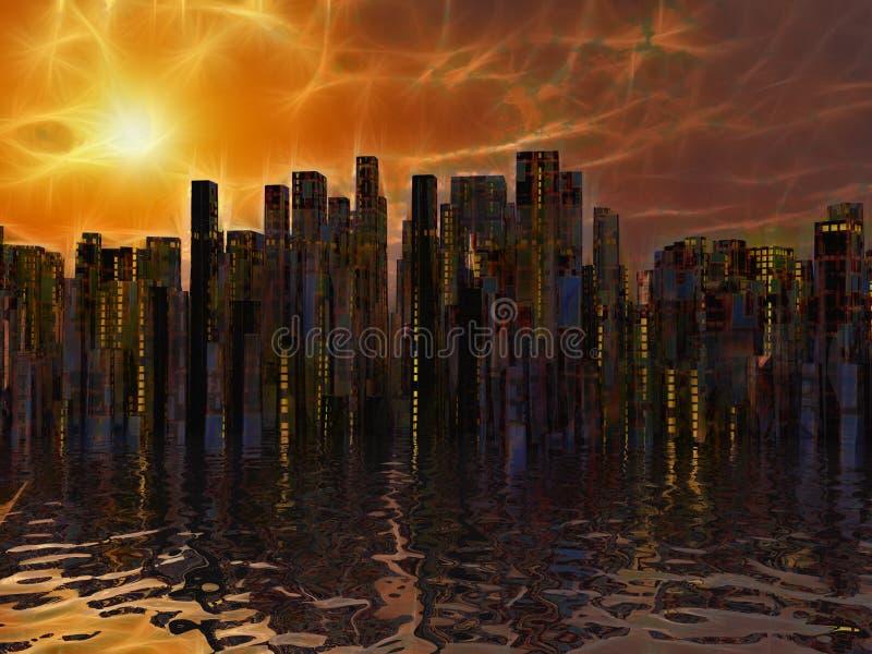 水的城市 库存例证