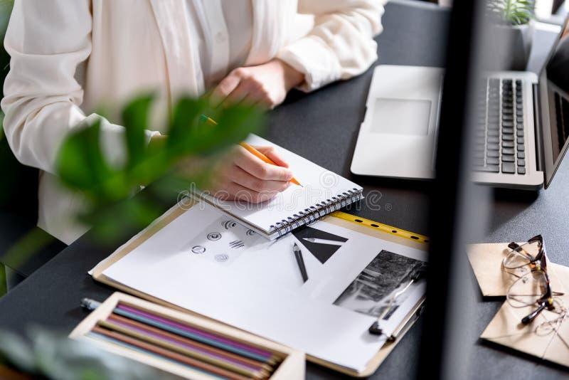 年轻的夫人录音某事在她的习字簿 免版税图库摄影
