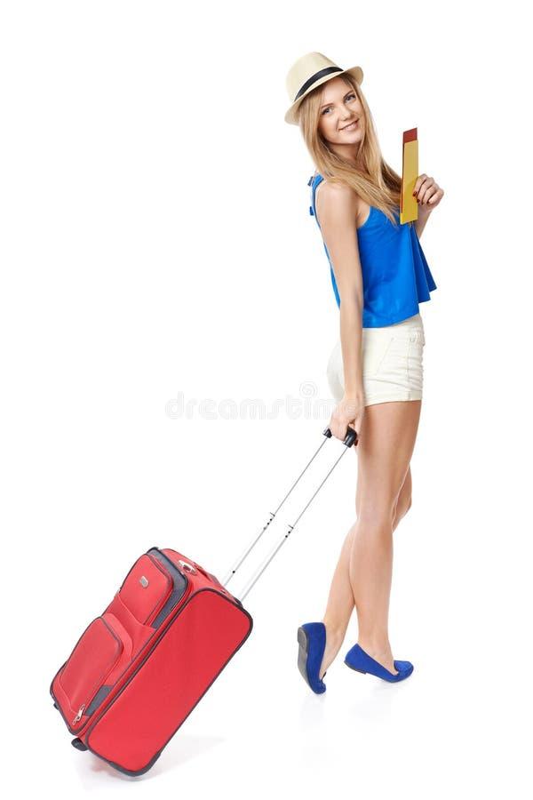 质朴的女孩旅客 库存照片