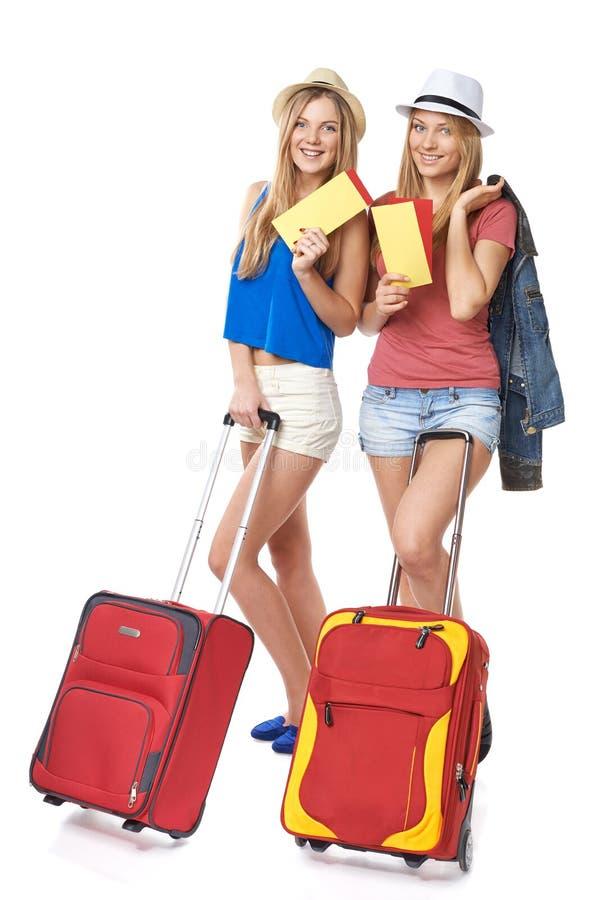 质朴的女孩旅客 免版税库存图片