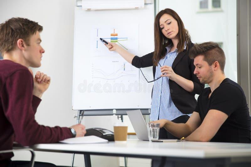给介绍的女实业家,当使用有Cowork的时膝上型计算机 库存照片