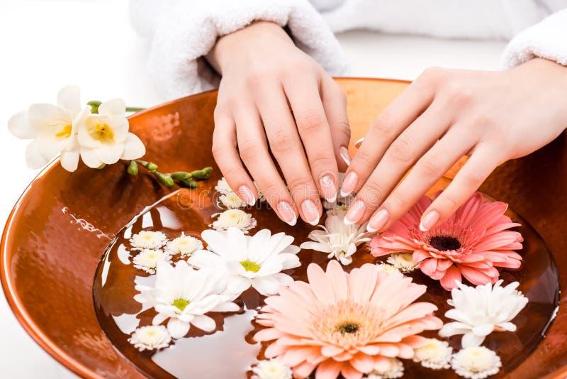 的妇女做与花的播种的观点温泉做法在美容院,钉子 免版税库存照片