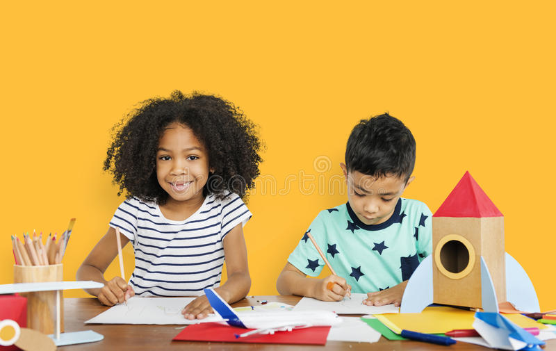 画的小孩速写概念 图库摄影