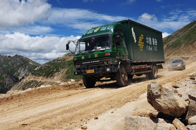 绕的山路西藏 图库摄影