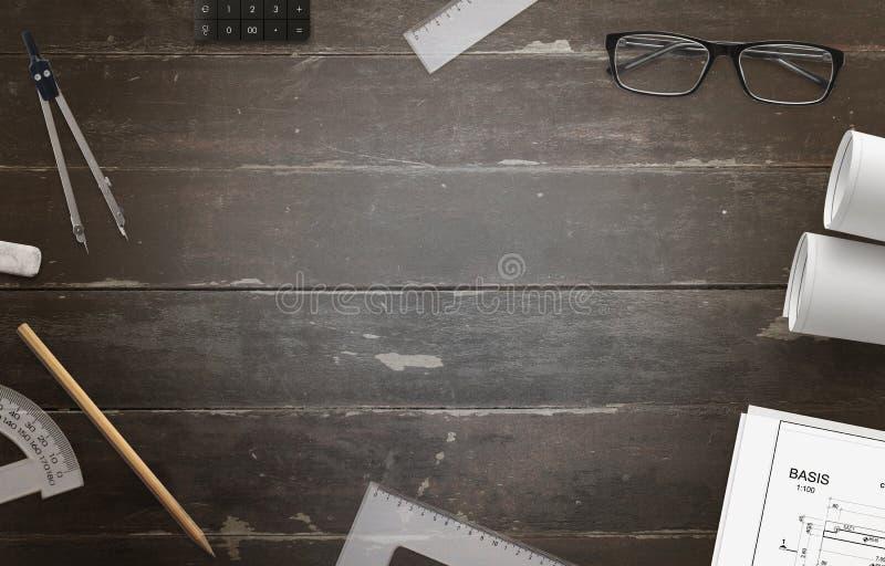 画的工程项目的辅助部件woden工作书桌 库存照片