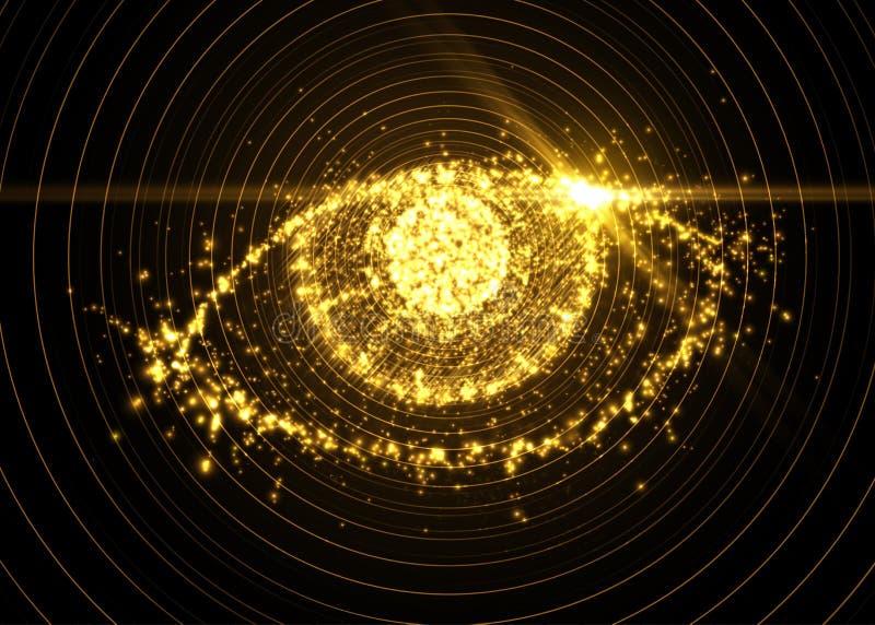 从轻的微粒的抽象眼睛,与火光作用 也corel凹道例证向量 向量例证